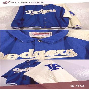 Vintage XL Los Angeles a Dodgers Starter Jacket Vintage Has Wear And Wrinkles  Blue. White.  XL Los