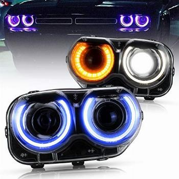 VLAND RGB Led Headlights Compatible with Dodge Challenger