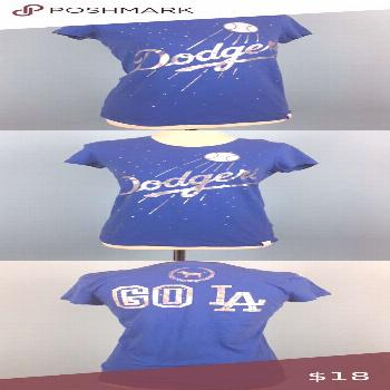 VS PINK Los Angeles Dodgers Baseball Tee In great condition! PINK Victoria's Secret Tops Tees - Sho
