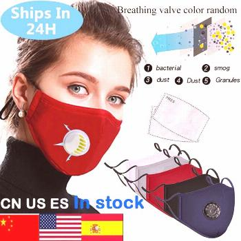 Washable Dustproof PM2.5 Mask Anti-fog Mask Filter Reusable Mask With Breathing Valve Activated Fil