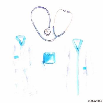 watercolor drawing - clothes of doctors, a medical suit and a bathrobe, phonendoscope ,
