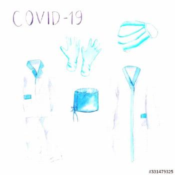watercolor drawing - doctors clothes, medical suit and gown, hat, medical mask, gloves ,