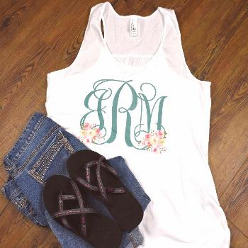 Women's Floral Monogram Shirt - Tank or T-Shirt