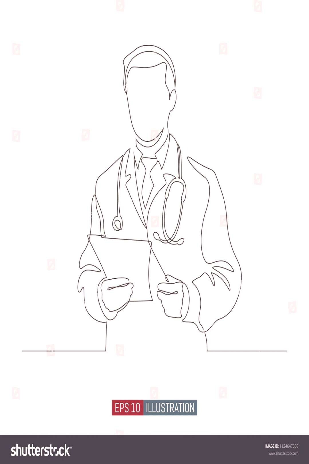 Continuous line drawing of doctors silhouette. Hospital scene. Template for your design works. Vect