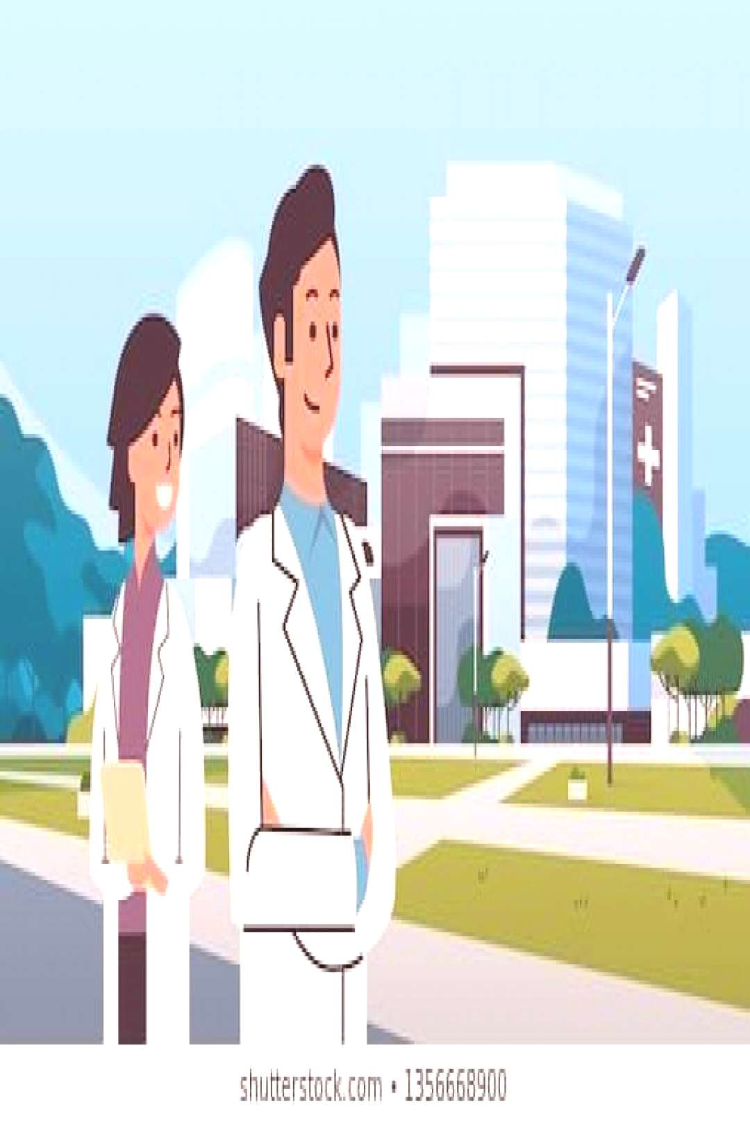 couple man woman doctors in uniform standing together over hospital building modern medical clinic