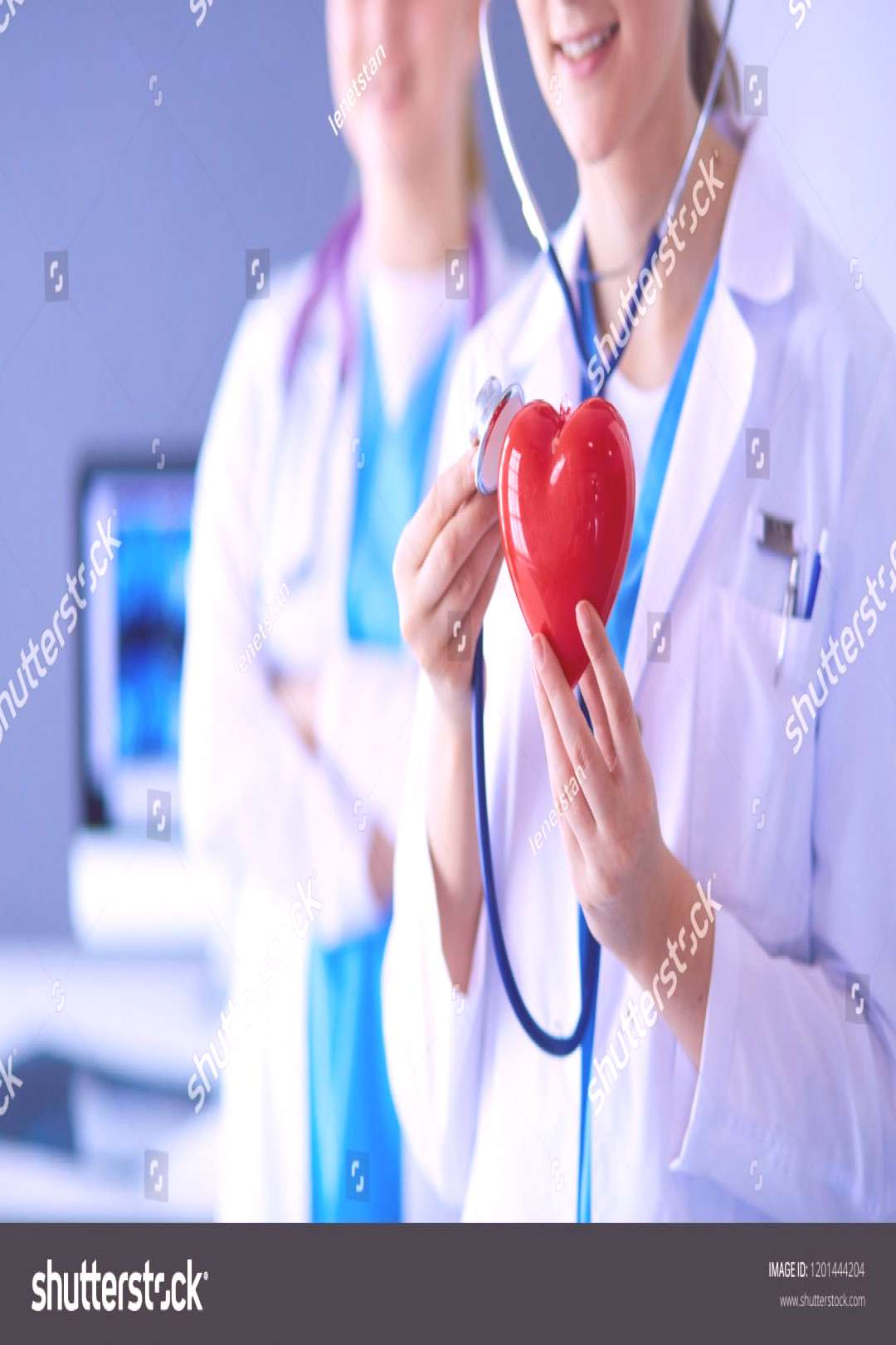 Cropped shoot of two young doctors female with stethoscope holding heart. ,