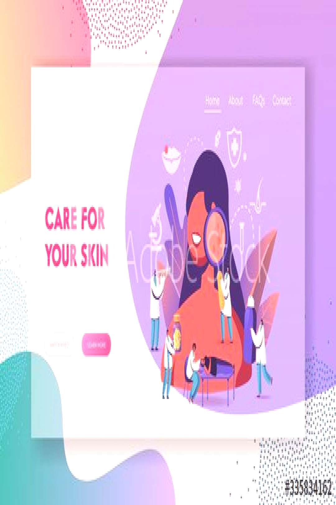 Dermatology Medicine Landing Page Template. Tiny Doctors Characters around of Huge Woman with Facia