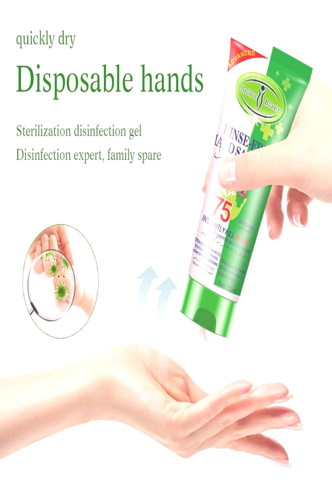 Disposable Hand Sanitizer 75% Alcohol Sterilization Bactericide Antibacterial Disinfection Gel Pers