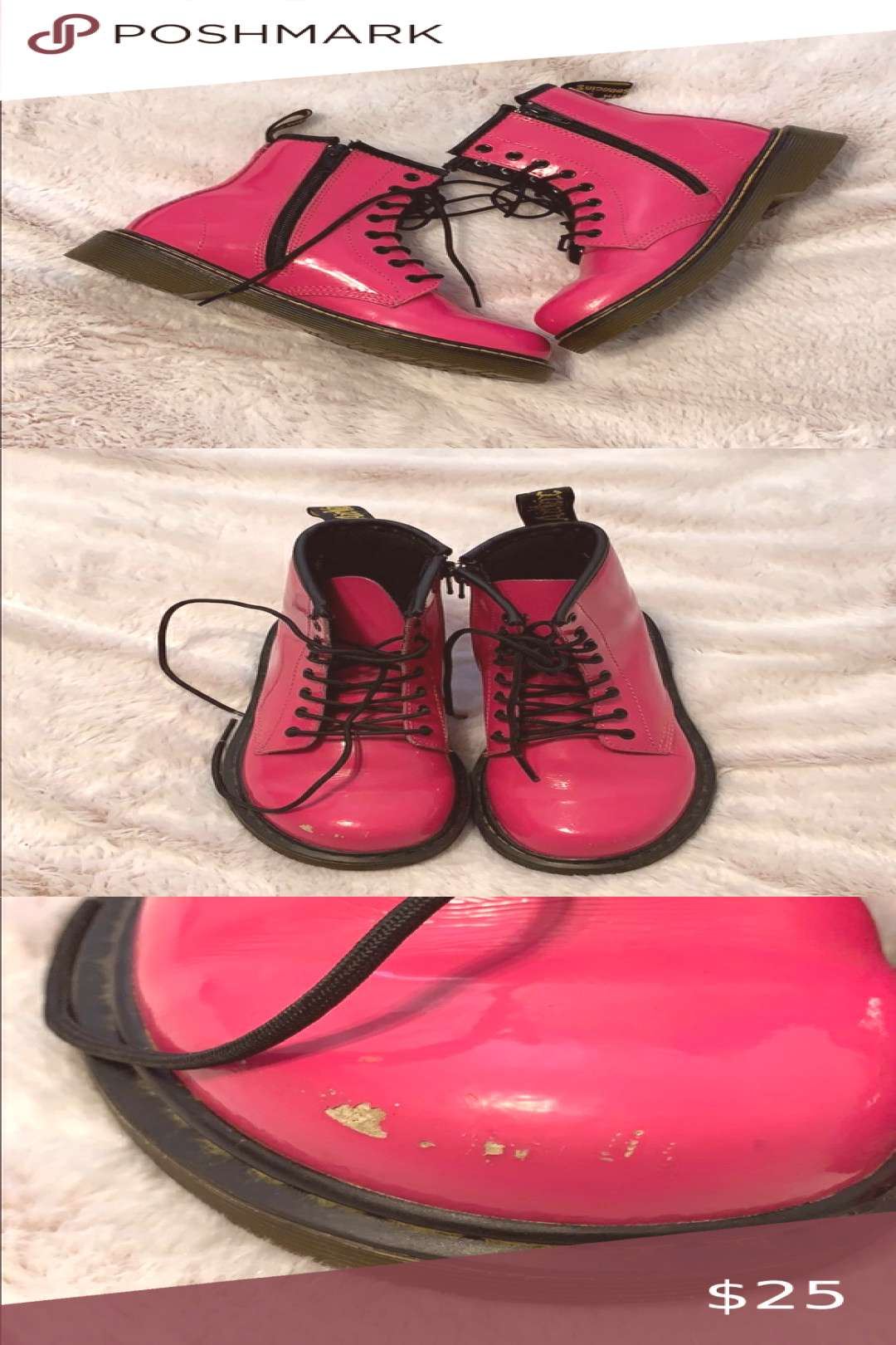 Doc Martins Delaney hot pink kids combat boots Doc Martins Delaney hot pink kids combat boots Size