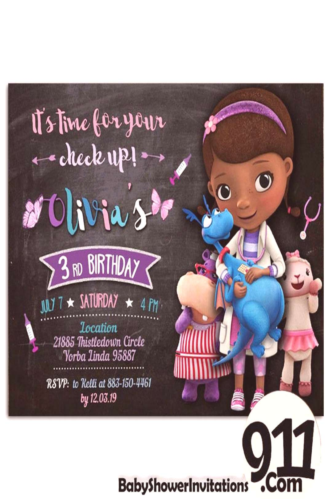 Doc McStuffins Birthday Party Invitation Doc McStuffins Theme Birthday – babyshowerinvitations911