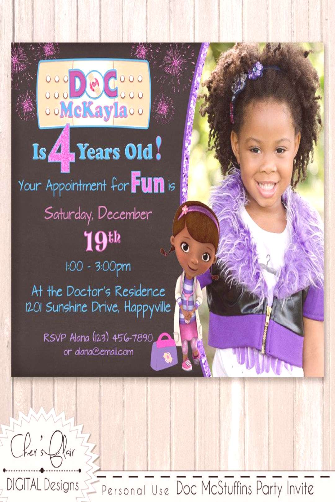DOC MCSTUFFINS INVITATION - Customized Birthday Invitation - Digital and Printable Invitation - Hig