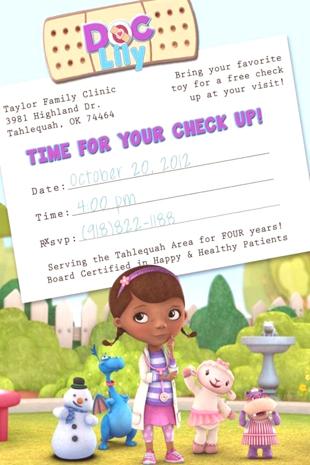 Doc Mcstuffins Party Invitations Template Beautiful Items Similar to Doc Mcstuffins Appointment Car