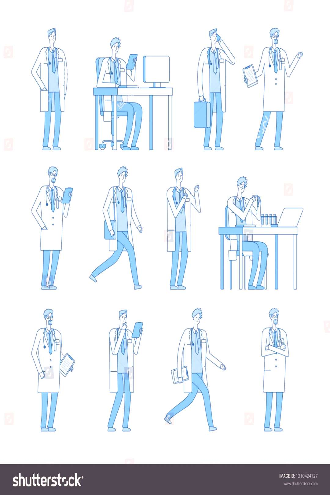 Doctor man characters. Medicine people doctors dentist health manager vector line flat cartoon char