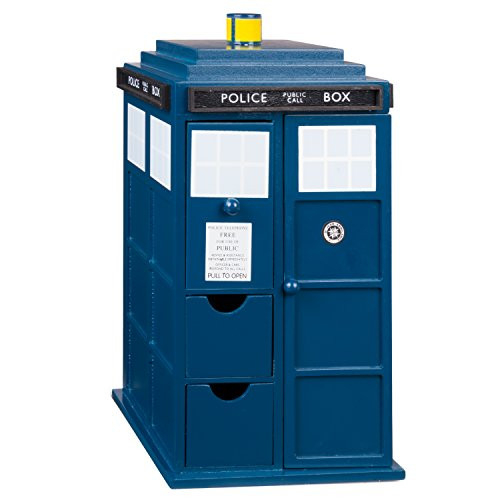 Doctor Who Tardis Wooden Jewelry Box with Drawers, Hooks and