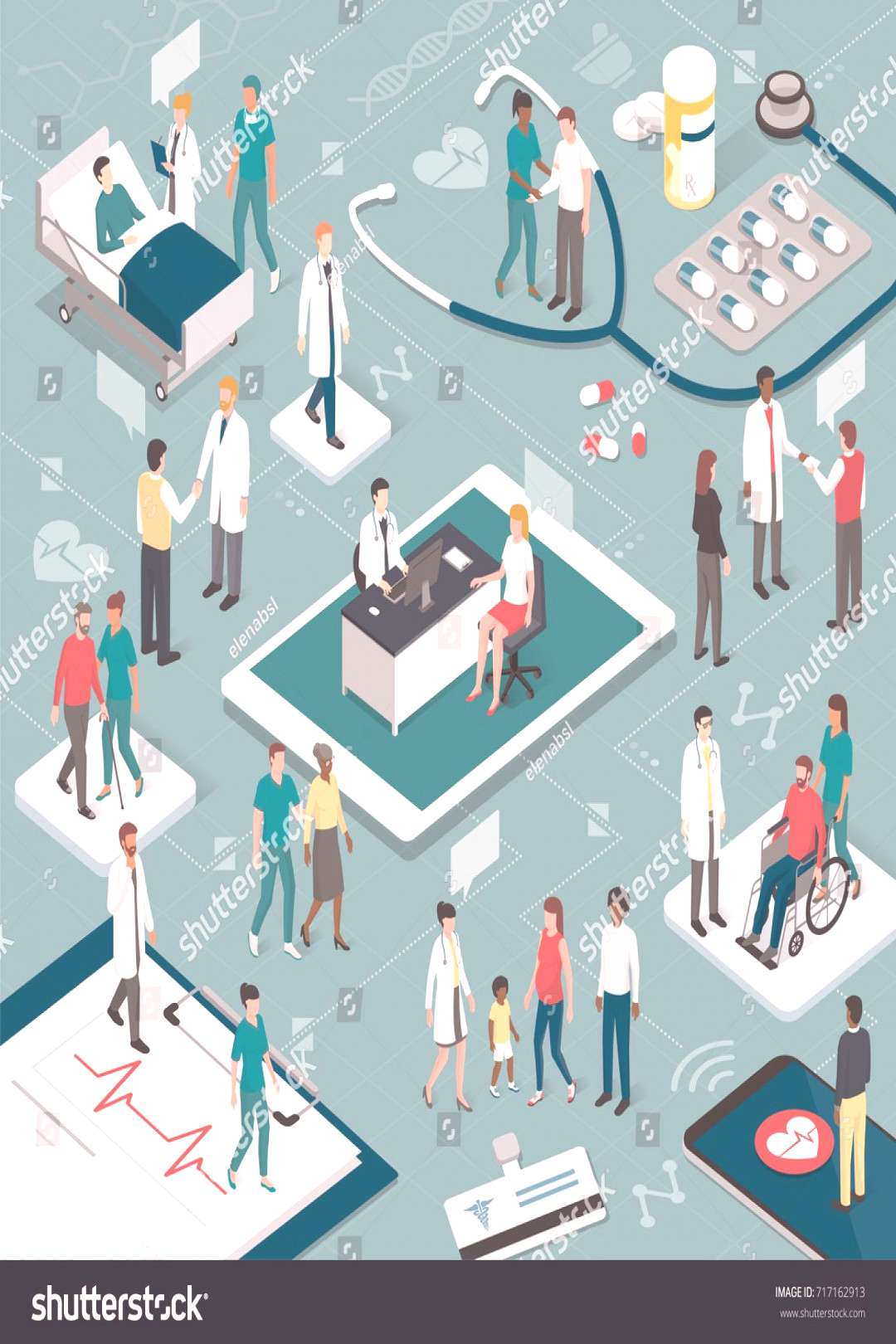 Doctors and nurses taking care of the patients and connecting together online: healthcare and techn