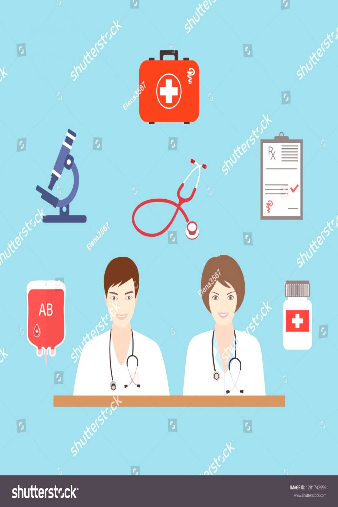 Doctors are a man and a woman.Flat health care and medical research background. Healthcare system c
