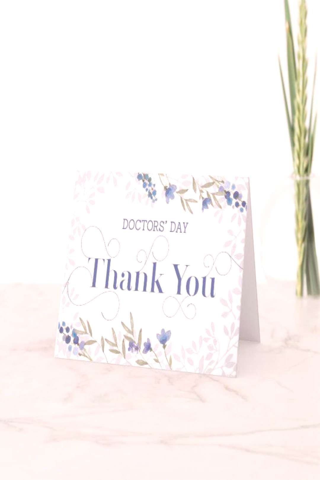 Doctors' Day Card - Thank You in Swirly Text Blue