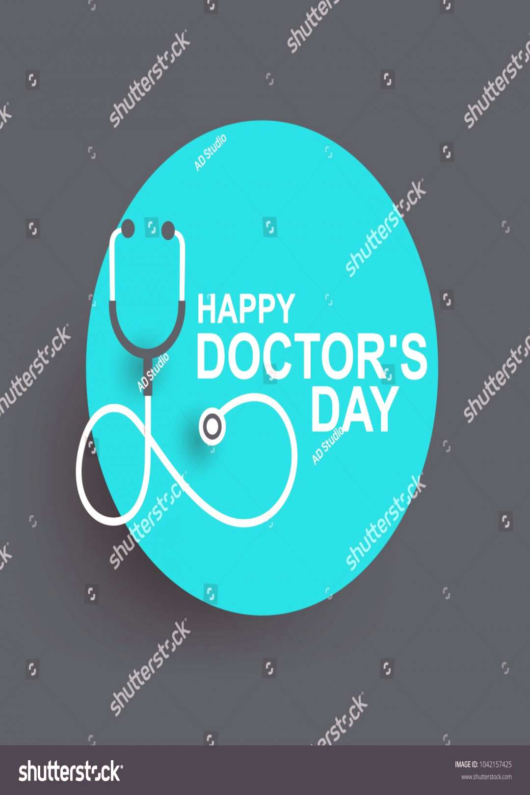 Doctors day greeting card design with stethoscope ,