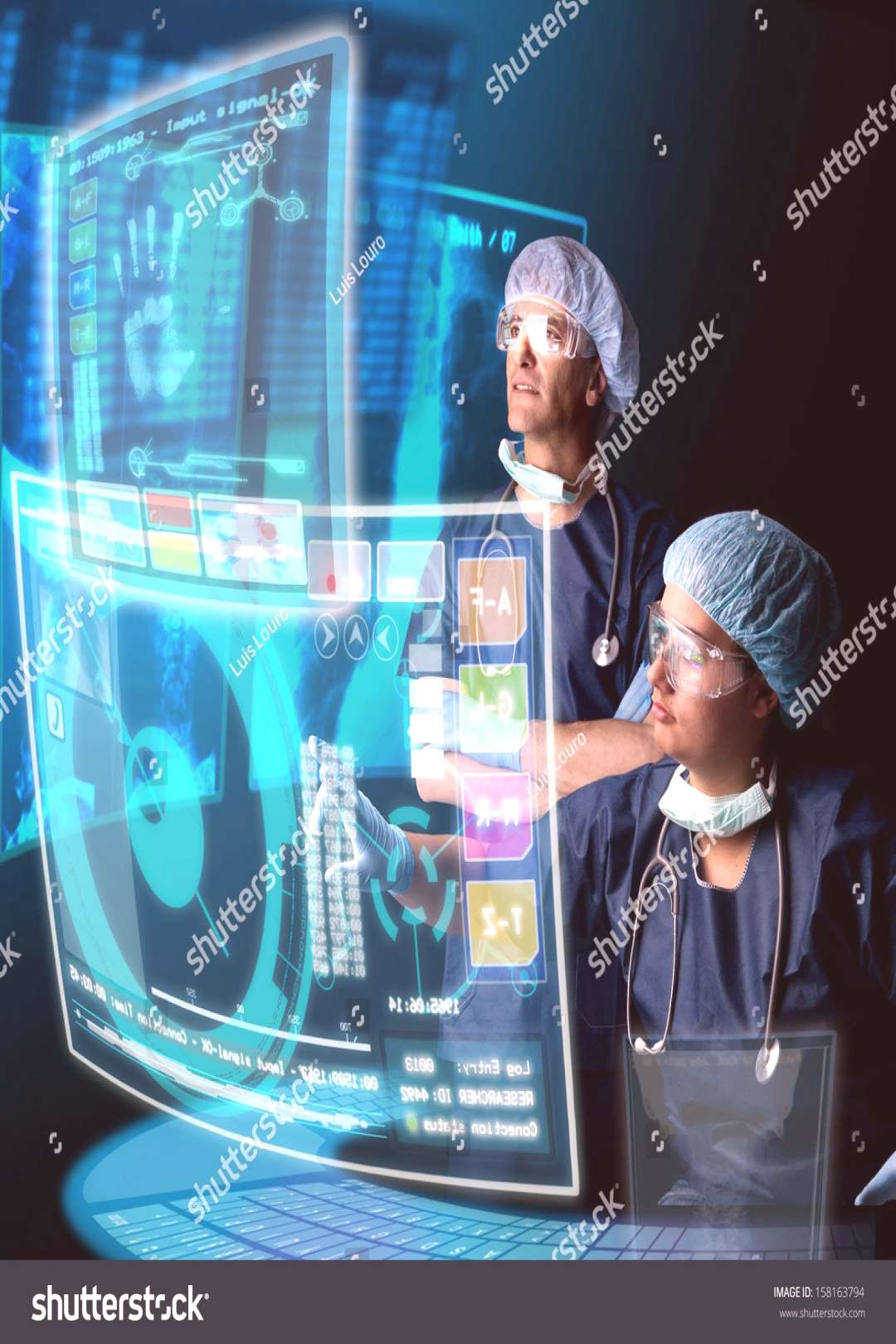 Doctors in a research station with digital screens and keyboard ,