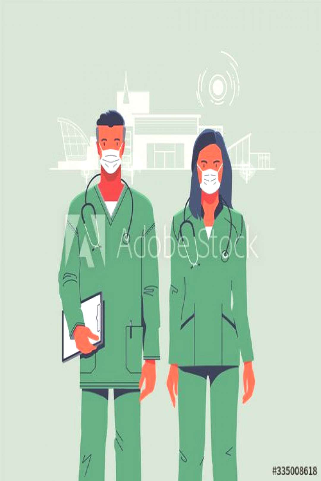 doctors man and woman in medical overalls ,
