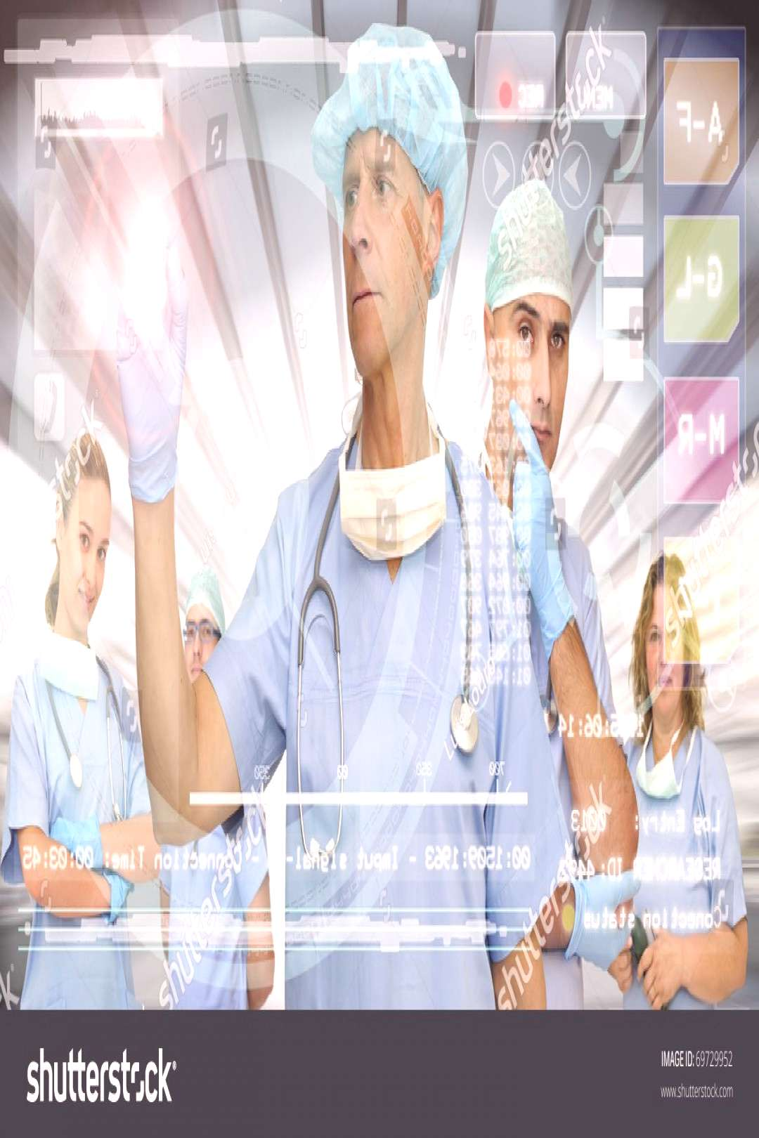Doctors team in medical facilities with modern screen ,