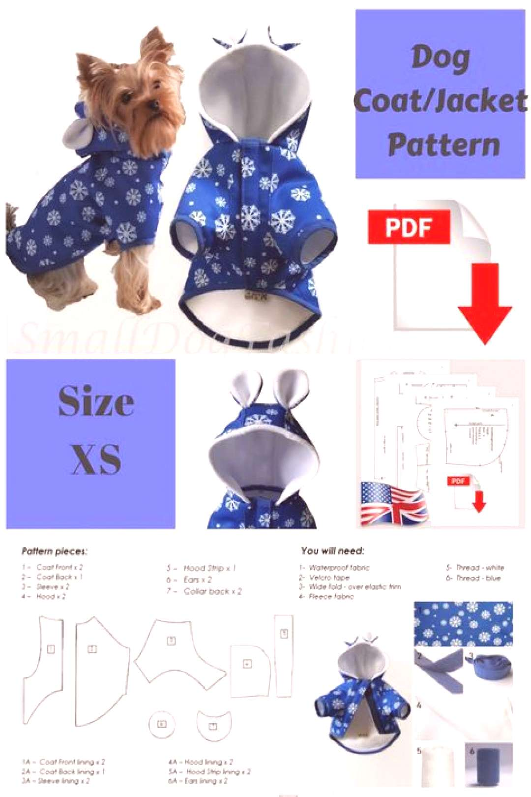 Dog Coat pattern Dog clothes patterns for sewing Small dog clothes pattern Dog Jacket Sewing patter