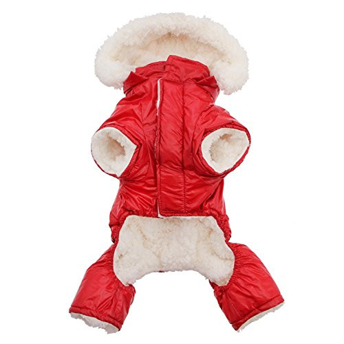 DOGGIE DESIGN Red Ruffin It Dog Snow Suit Harness (Small)
