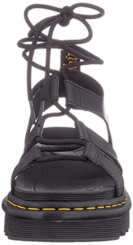 Dr. Martens Womens Gladiator with Ankle-tie Sandal, Black,