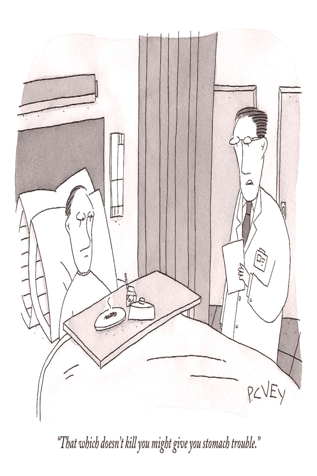 Drawing - A Doctors Is Seen Talking To A Bed-bound Patient by Peter C. Vey ,