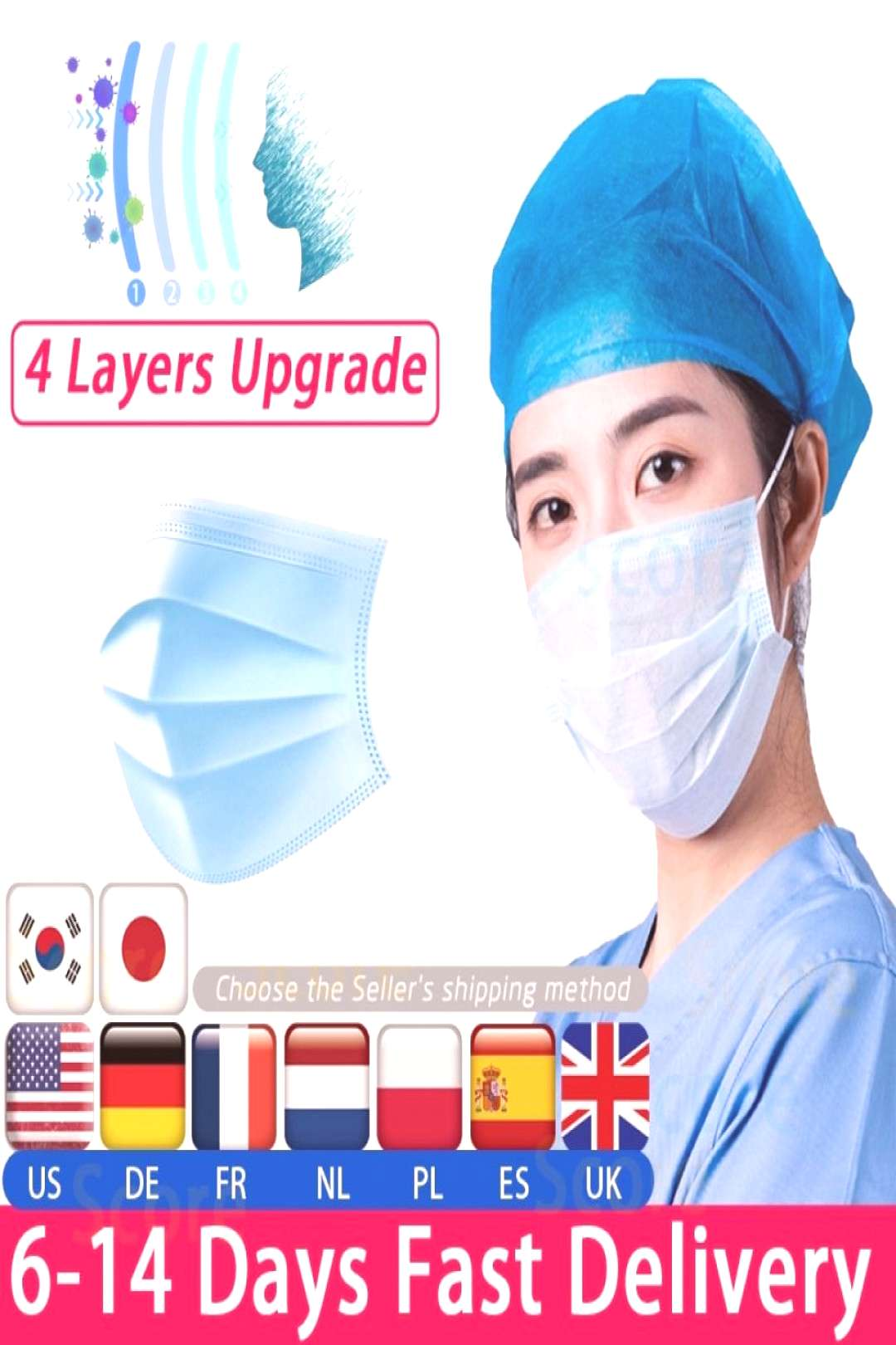 Fast delivery Hot Sale 4-layers mask 50pcs Face Mouth Masks Non Woven Disposable Anti-Dust Meltblow