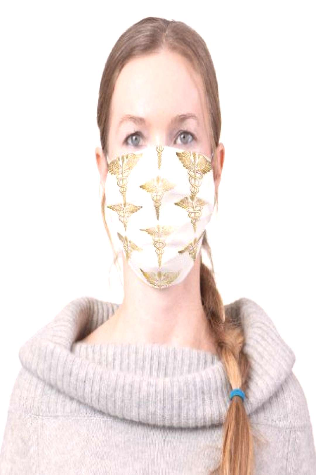 Gold Caduceus Medical Symbol Pattern on White Cloth Face Mask - tap/click to personalize and buy