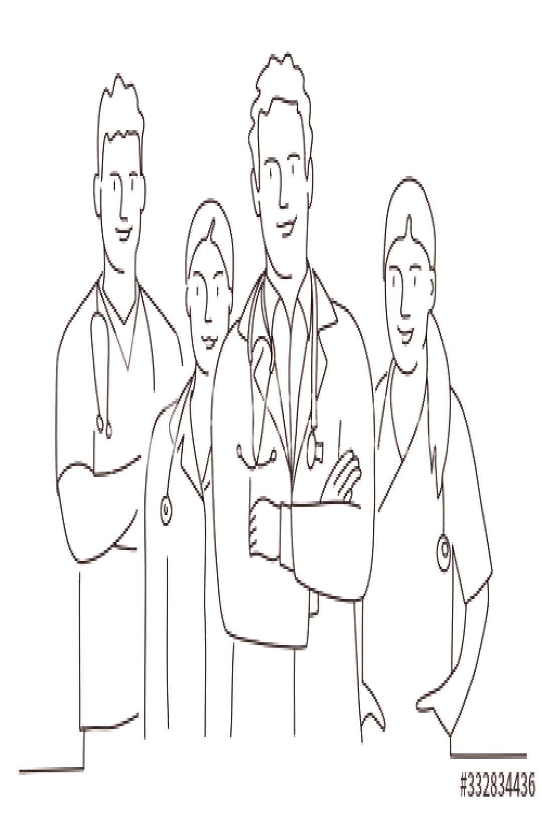 Group of doctors with arms crossed. Concept teamwork in hospital. Line drawing vector illustration.