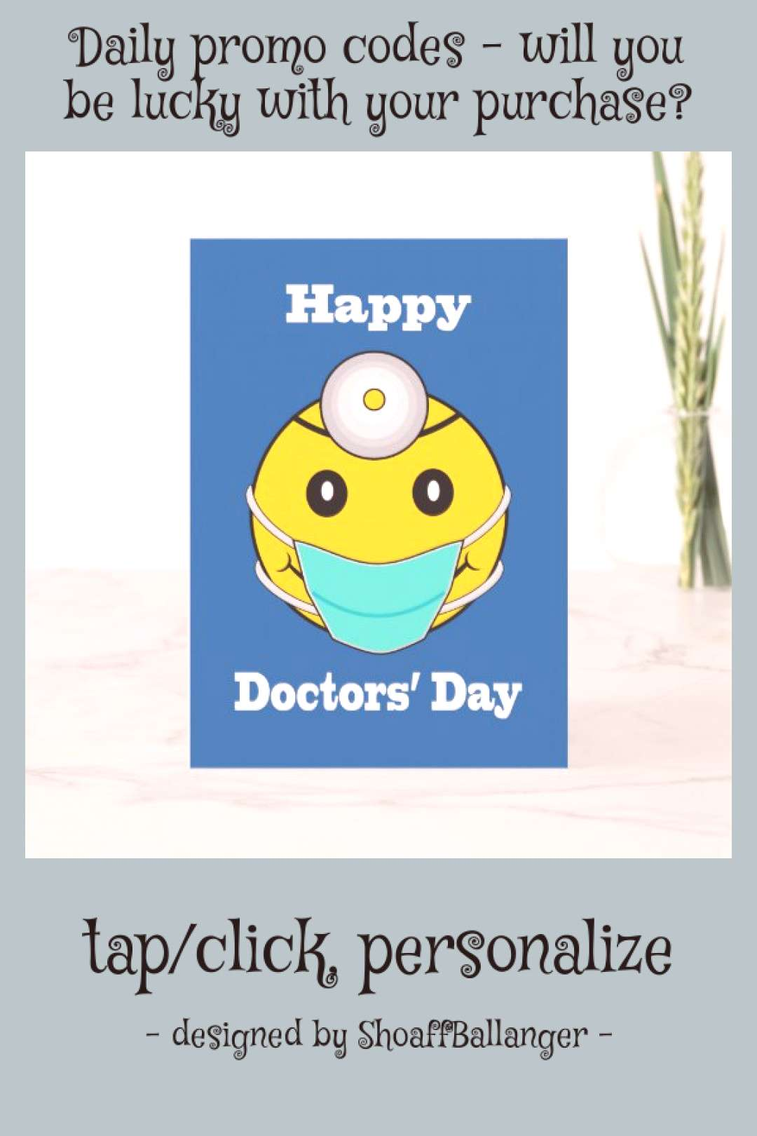 Happy Face Doctors' Day Happy Face with Mask Card