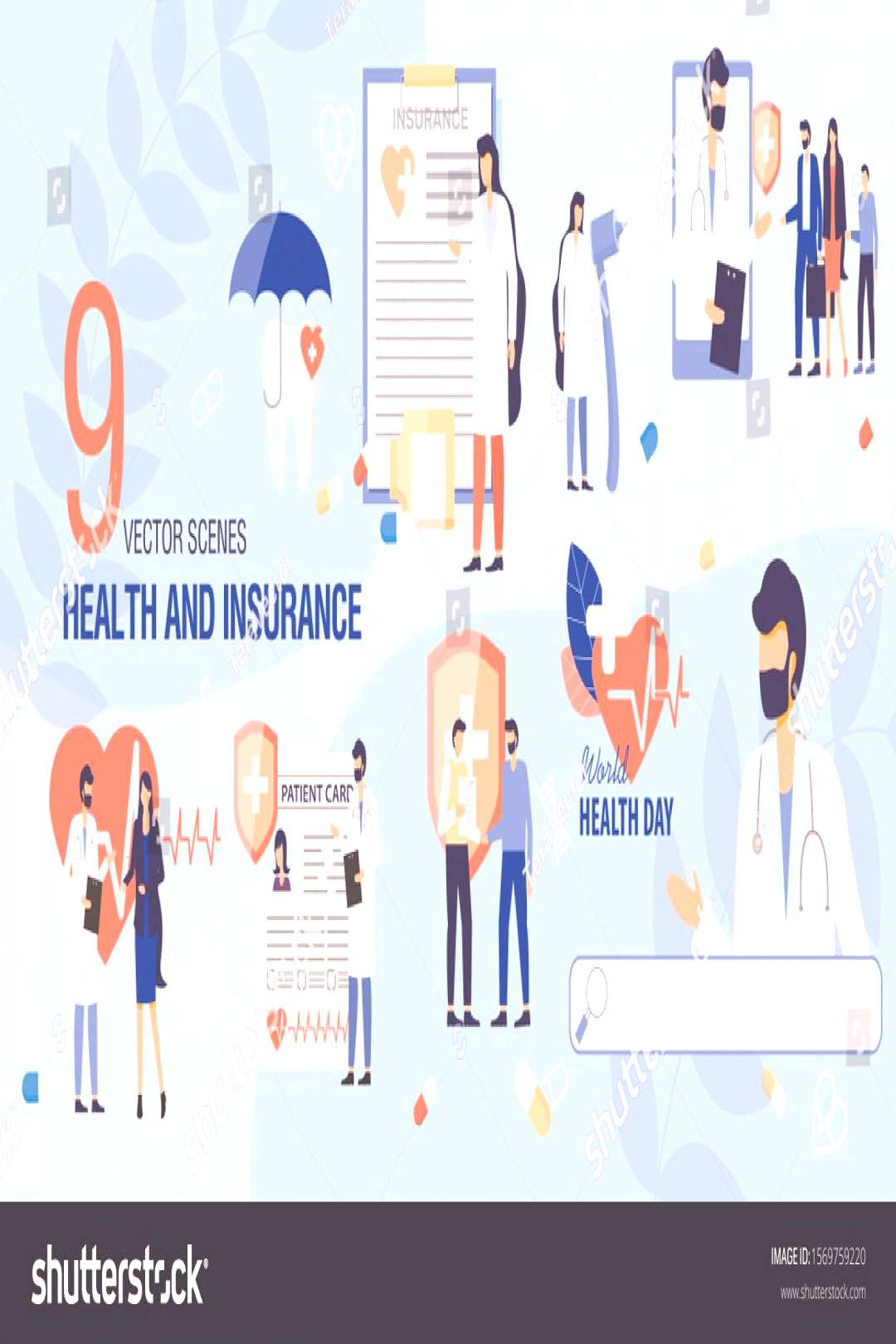 Health Insurance Concepts and Health Day Scenes Trendy Flat Vector Set. Doctors Talking with Patien