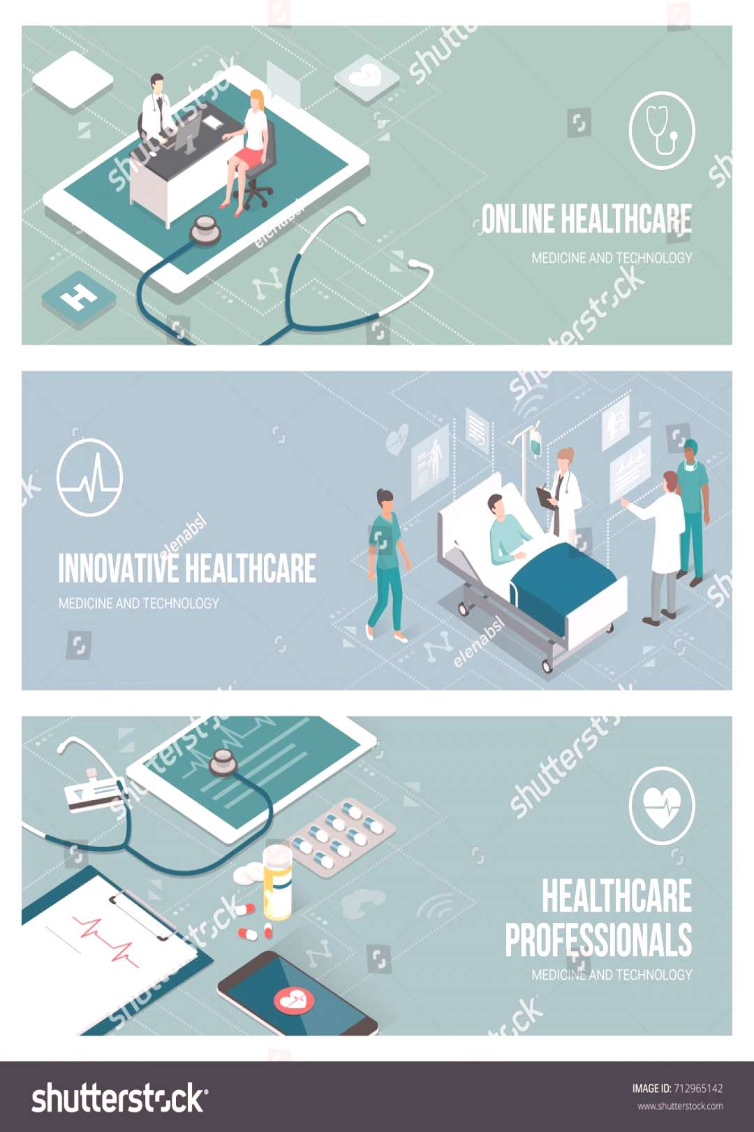Healthcare, doctors and patients banner set with isometric people and objects ,
