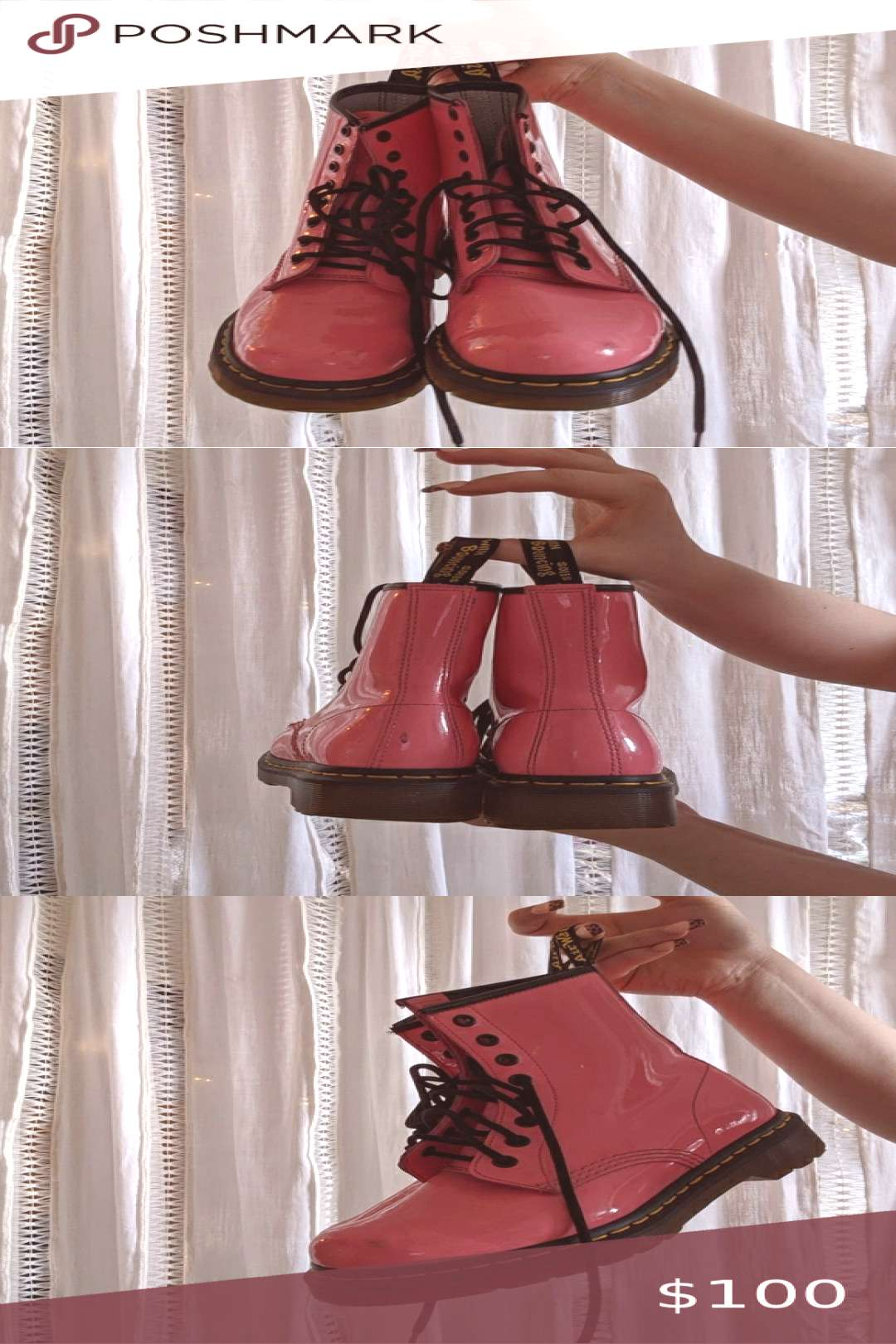 Hot Pink Doc Martin's Boots Slightly worn doc martins  Eight lace up  Small scuffs can be seen in i