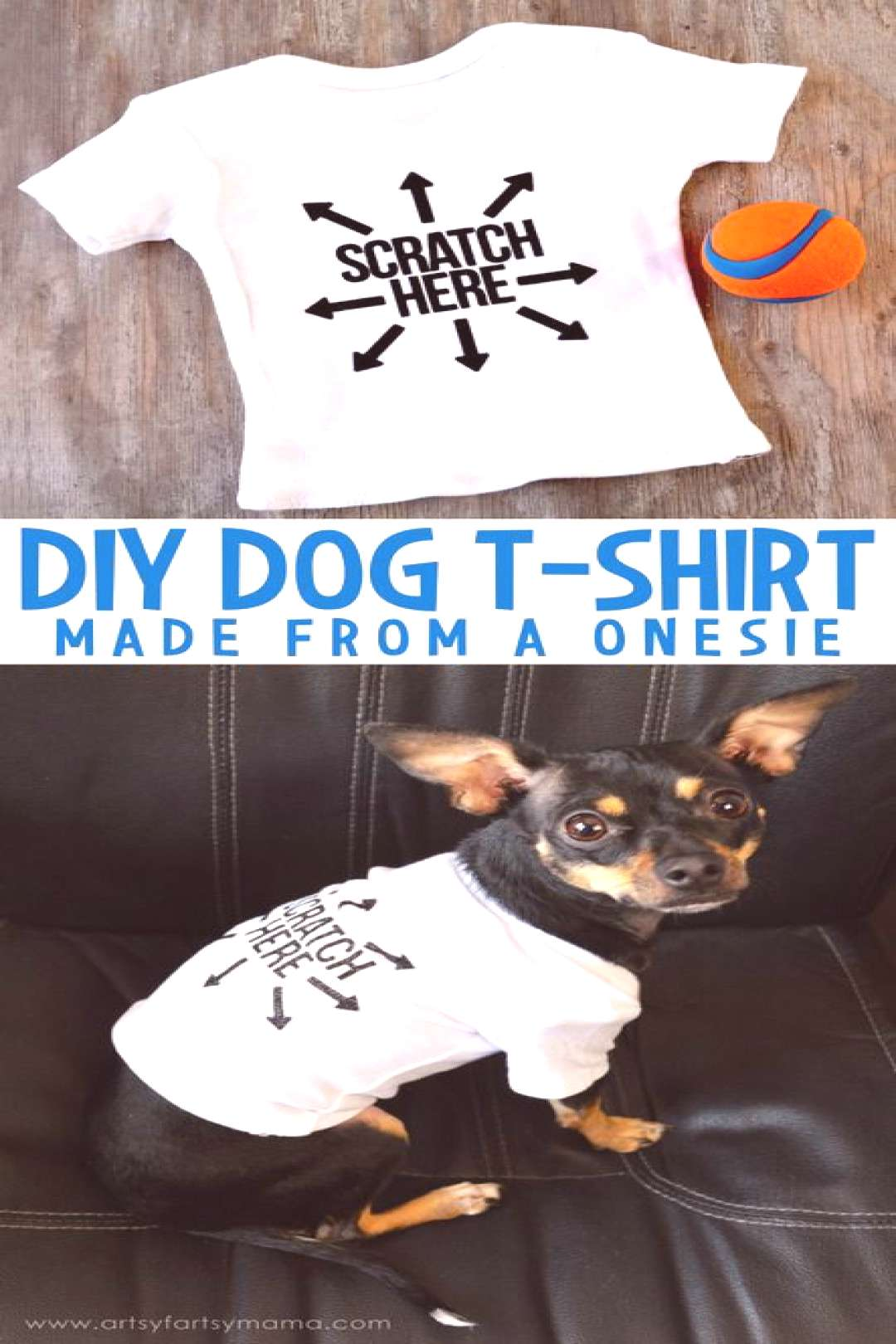 How to make a DIY Dog T-Shirt from a onesie at