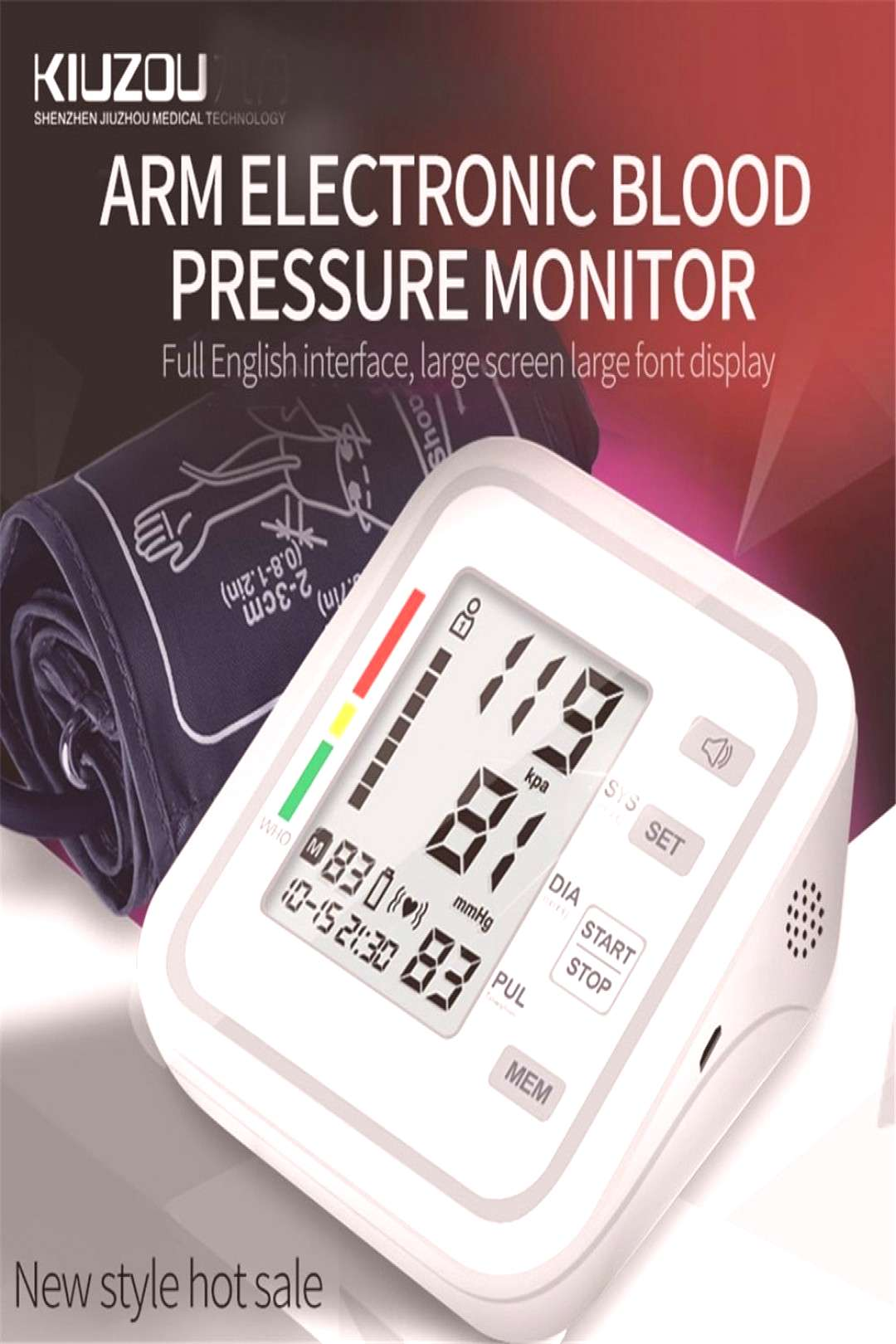 KUIZOU English Automatic Upper Arm Type Electronic Blood Pressure Monitor For Home Medical English