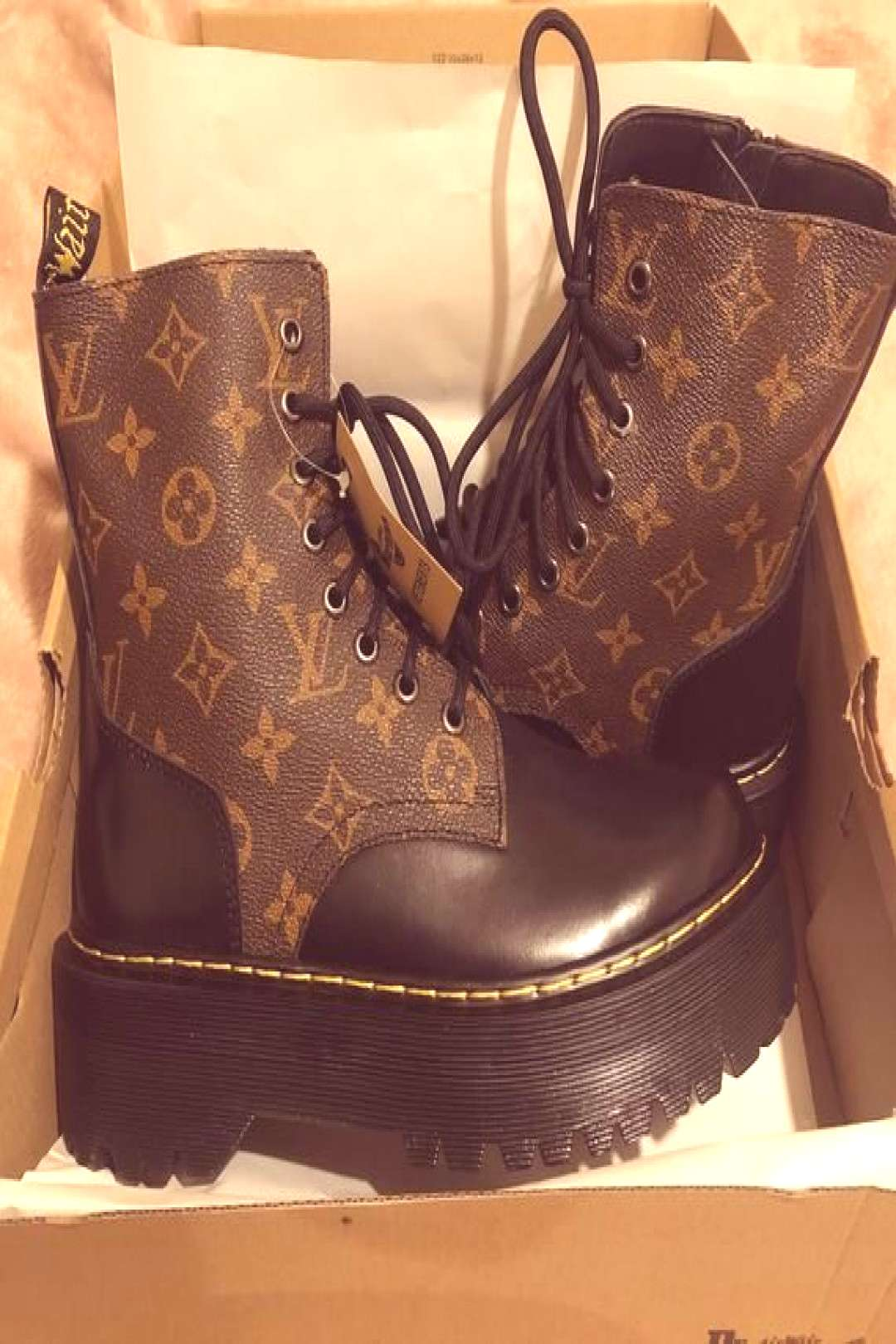 Ladies customised LV Louis Vuitton print with DR martins order to size