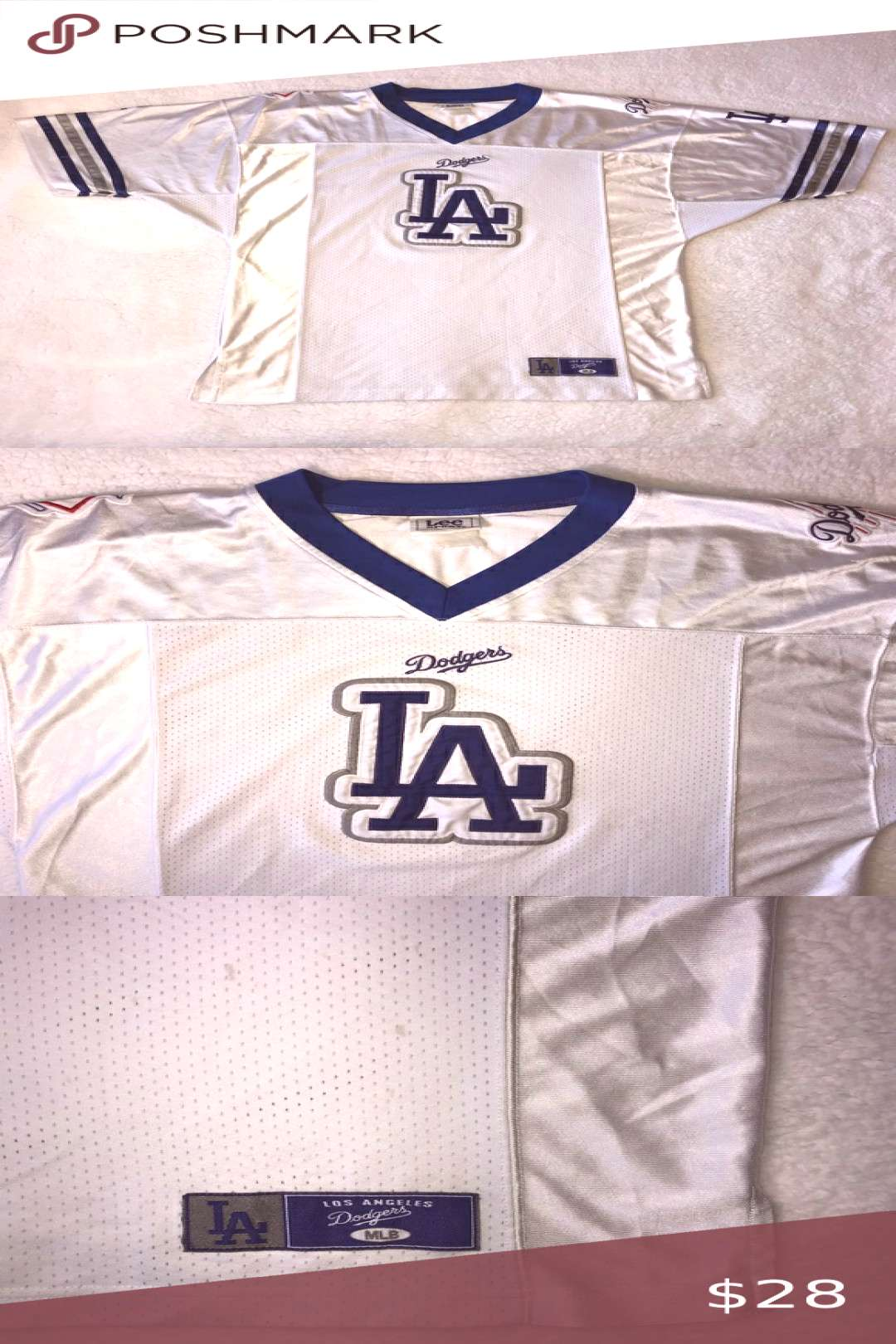 Lee Sport LA Dodgers Baseball Football Jersey Men's Size XL  Pit to pit: 21 inches  Middle of col