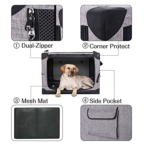 LIOOPET 4 Door Quick Portable Folding Dog Crate Kennel with
