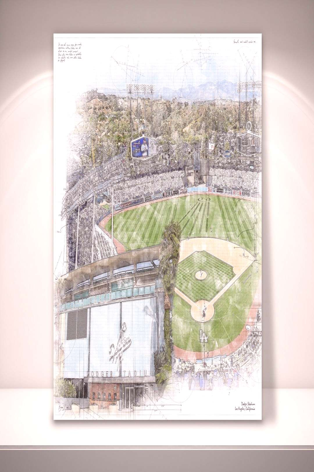 Los Angeles Dodgers Baseball, Dodger Stadium Sketch Print / Canvas