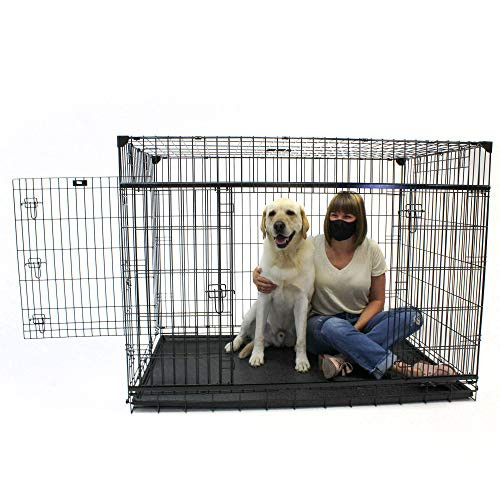 """Lucky Dog 54"""" Double-Door Giant Dog Crate with Sliding"""