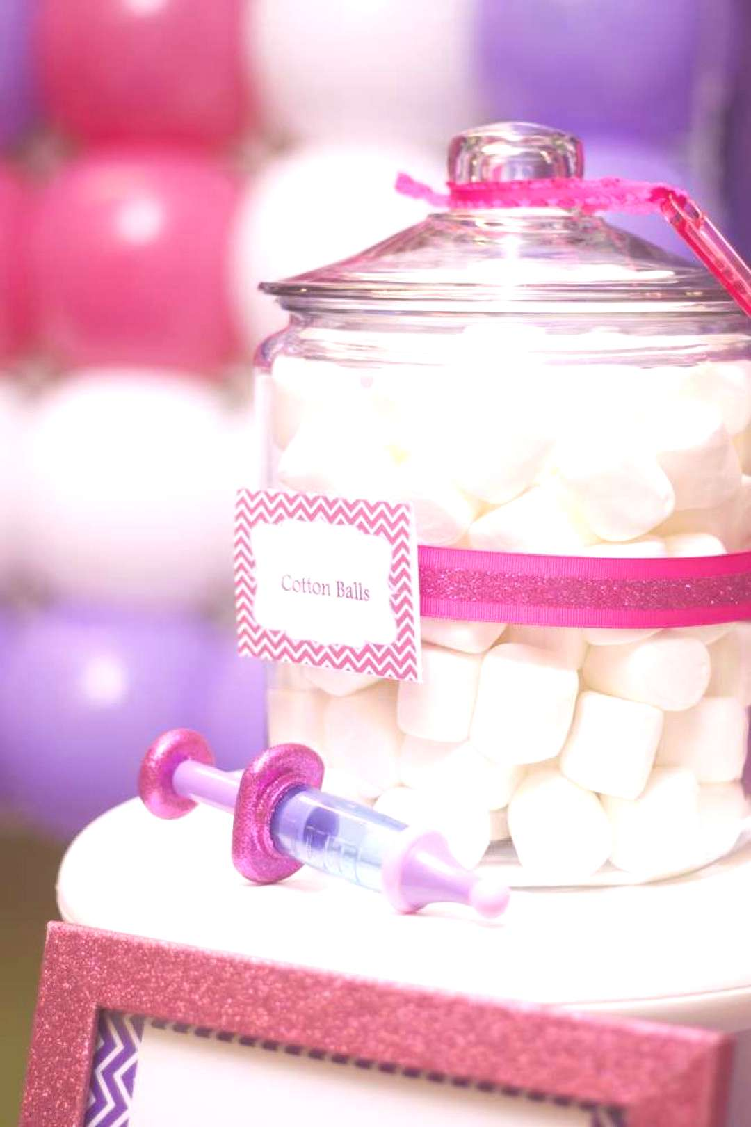 Marshmallow cotton balls at a Doc McStuffins birthday  party! See more party planning ideas at !
