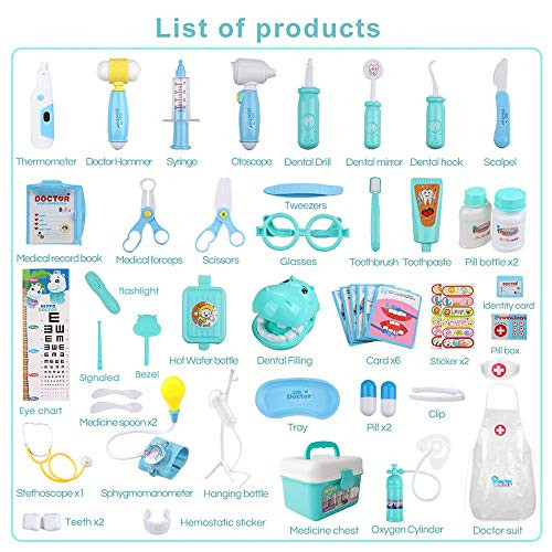 MCFANCE Toy Doctor Kits 48Pcs Pretend Play Doctor Kit Toys