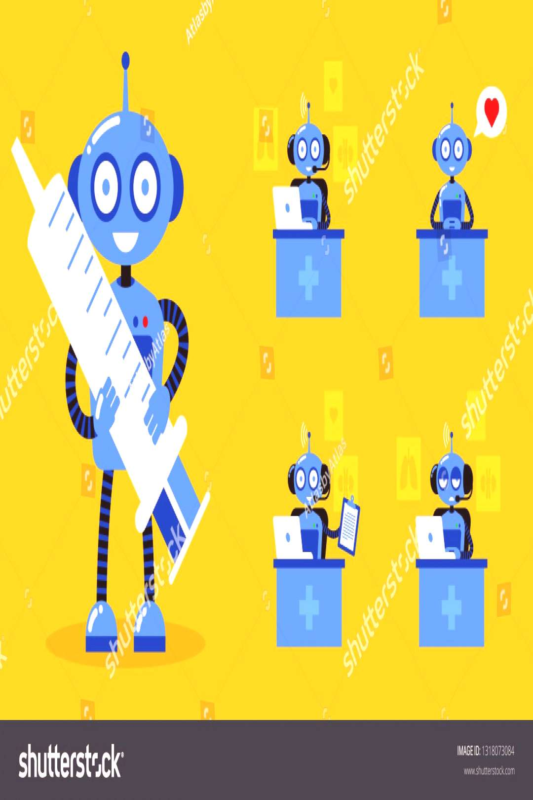 Medical chatbot. Set of cute robots-doctors. Scientific technologies for health. Concept AI in medi