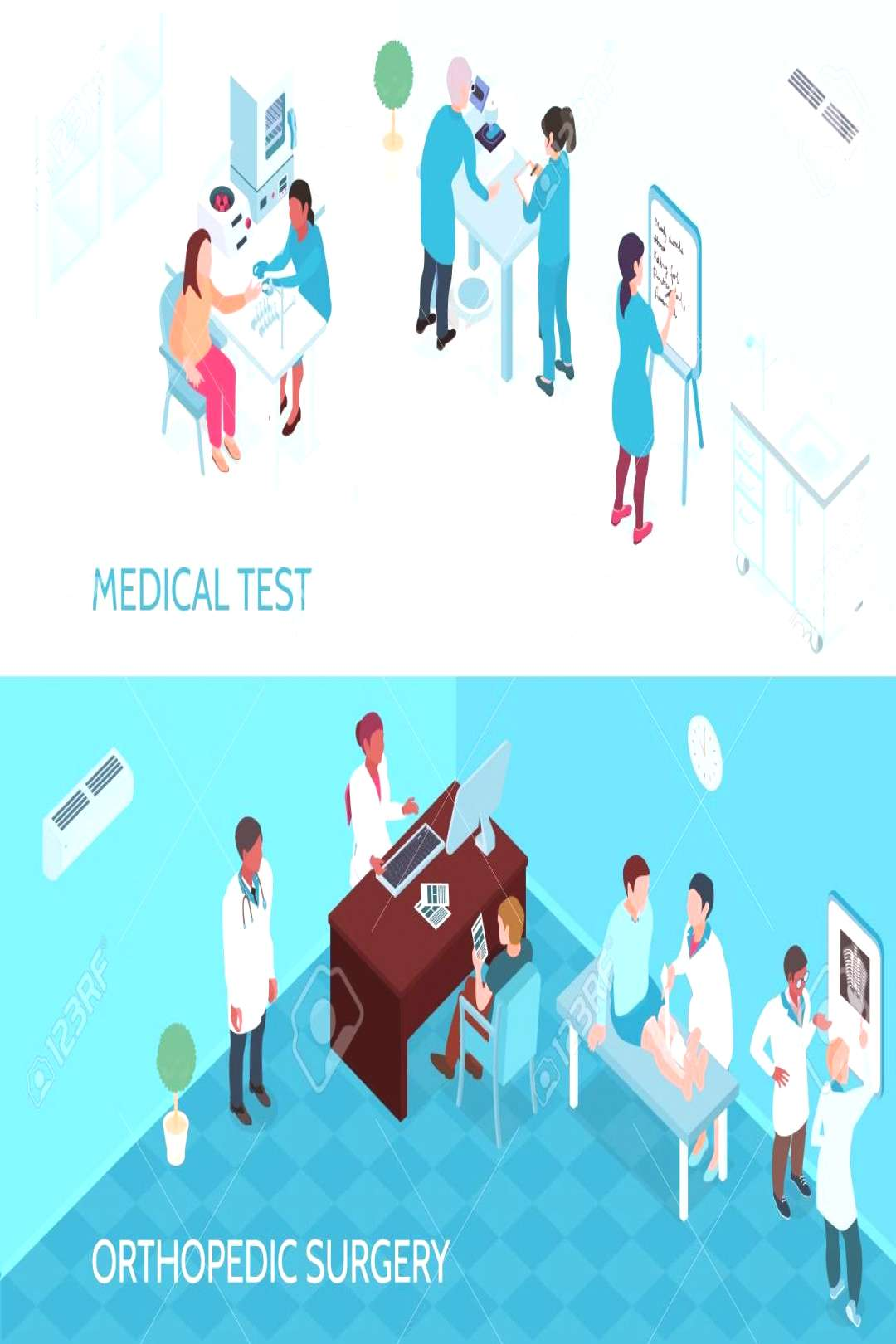 Medical help horizontal banners with doctors and nurses involved in testing and orthopedic surgery