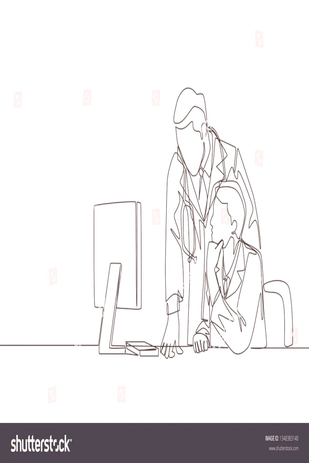 One continuous line drawing of two young male doctors discussing while watching patient medical rec