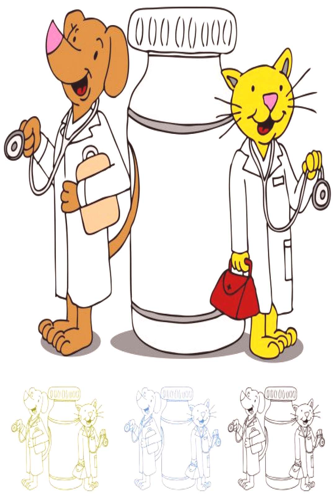 Pet Doctors with Medication - Stock Vector ,