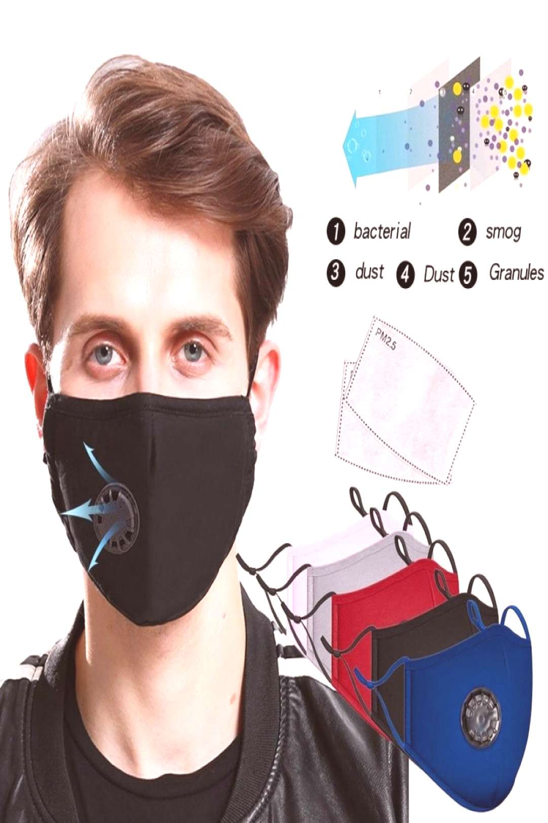 PM2.5 Anti-Dust Anti-fog Mask Anti Haze Mask With Filter Pad Activated Carbon Filter Respirator Mou